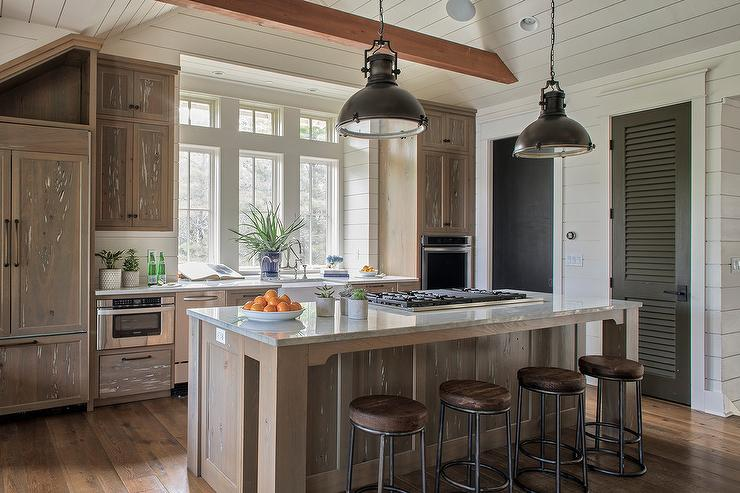 White And Navy Blue Kitchen With White Pecky Cypress Range