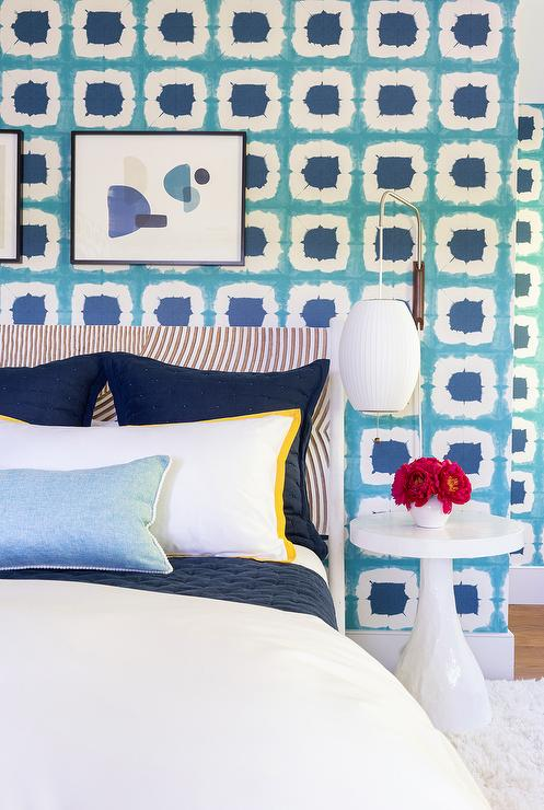 Yellow And Blue Bedroom With Turquoise Beaded Chandelier
