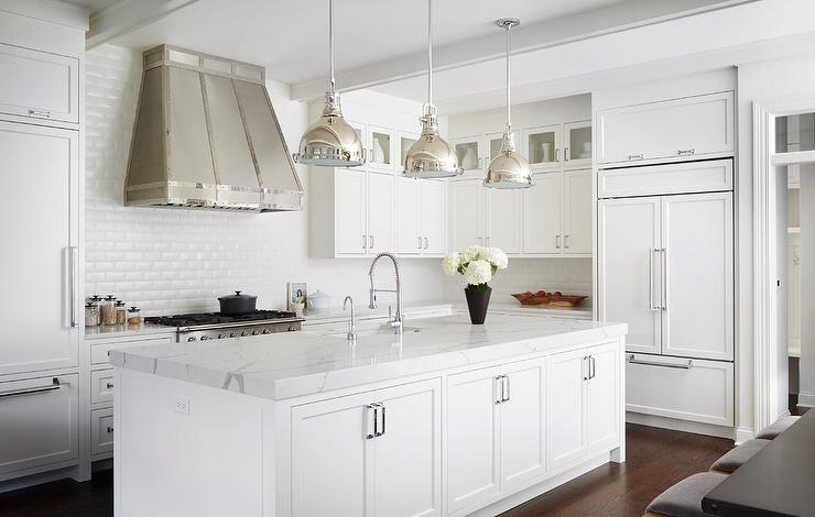 Small Glass Cabinets Stacked on White Shaker Kitchen ...