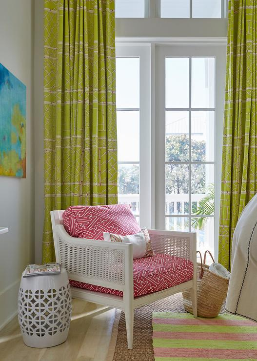 White Cane Chair with Pink Fretwork Cushions - Cottage - Bedroom