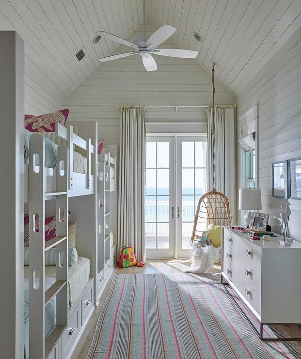 Cottage Style Bunk Room With Vaulted Ceiling Cottage Bedroom