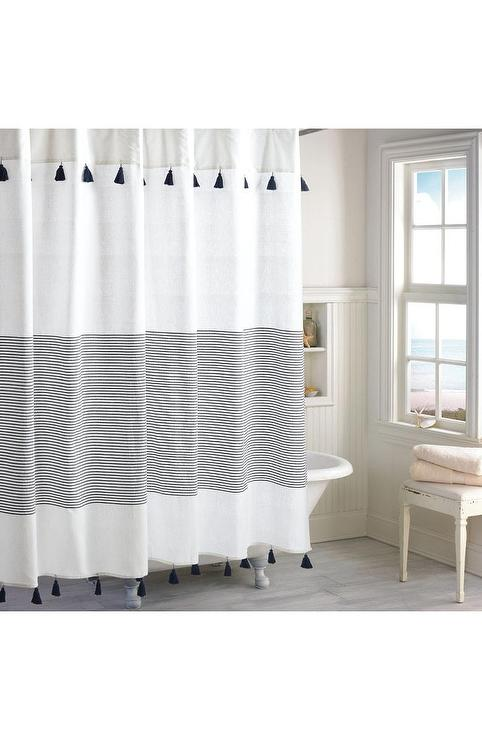 Panama Navy Stripe Tassels Shower Curtain