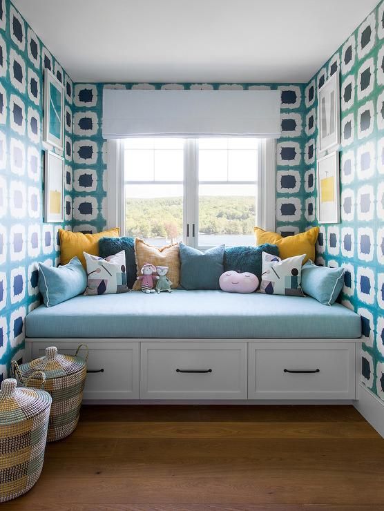 White And Blue Window Seat Nook With Yellow And Blue Pillows