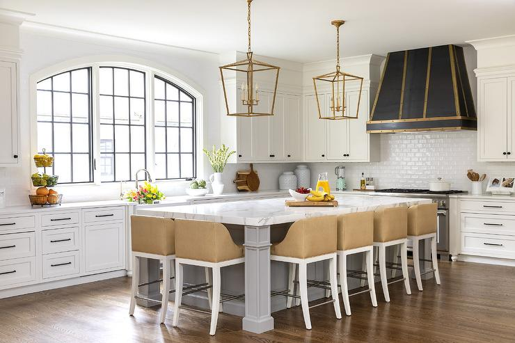Large Gray Kitchen Island with Beige Counter Stools ...