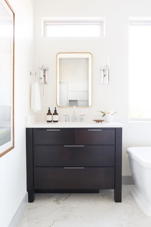 Dark Brown Wood Washstand With Gold, Dark Brown Wood Bathroom Mirror