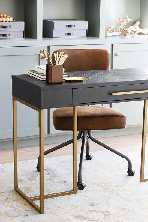 Astonishing Blue Herringbone Top Desk With Brown Leather Chair Dailytribune Chair Design For Home Dailytribuneorg