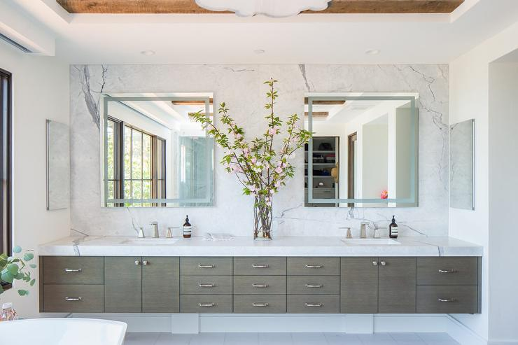 Gray Wood Floating Sink Vanity With Two Sinks Transitional Bathroom