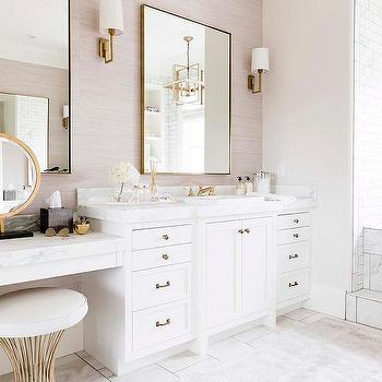 White and Gray Bathroom with Makeup Vanity