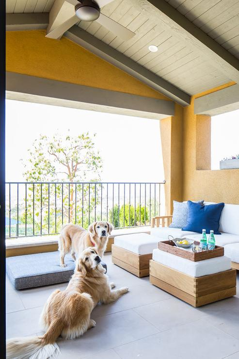Covered Master Bedroom Deck with Ceiling Fan - Transitional ...