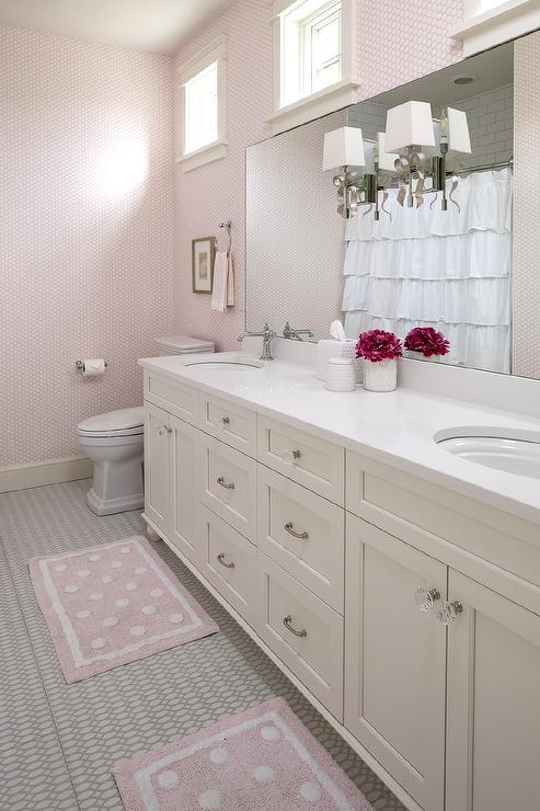 pale pink girls bathroom with white capiz wall sconce traditional bathroom. Black Bedroom Furniture Sets. Home Design Ideas