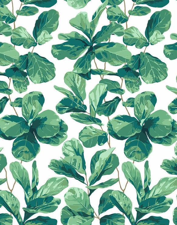 Green Fiddle Fig Pattern White Wallpaper Unique Green Pattern