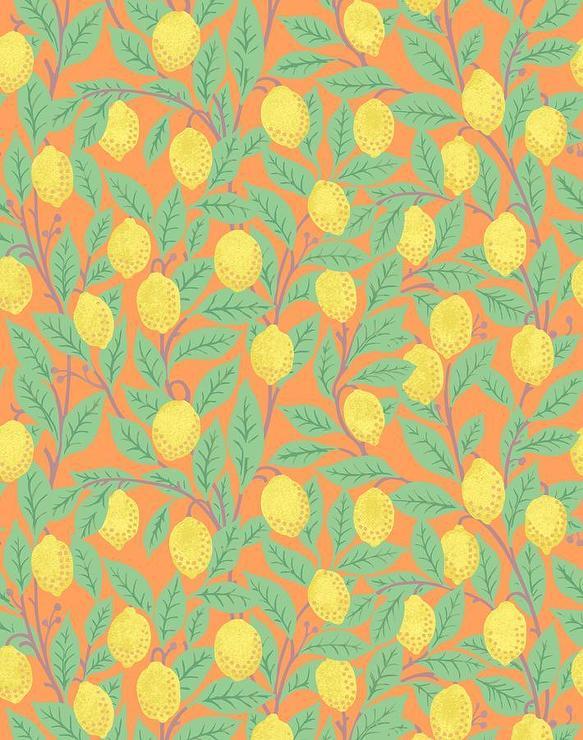 Yellow Lemons Pattern Orange Wallpaper