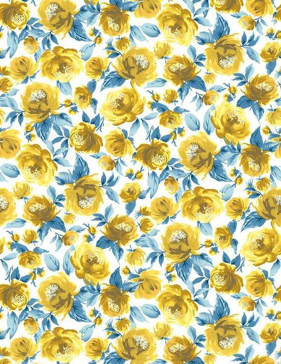 Veronica Yellow Peonies Pattern Blue Wallpaper