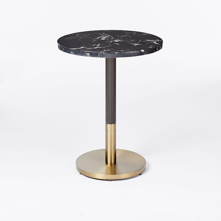 Round Small Black Marble Brass Base Bistro Table