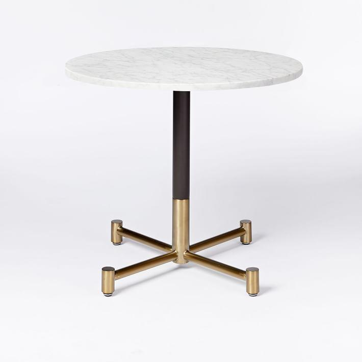 47e7dee7c1d7 Round Large White Marble Gold Legs Bistro Table