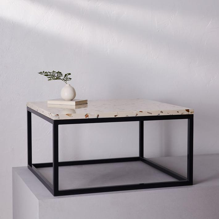 Pieces Square Black Metal Frame Cream Top Coffee Table