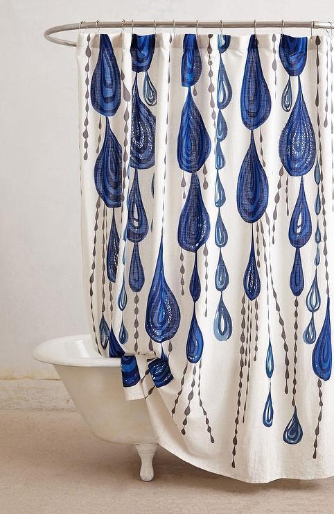Jardin Des Plantes Large Water Drops Blue Shower Curtain