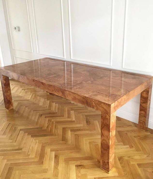 Rectangular Burlwood Veneer Glossy Dining Table