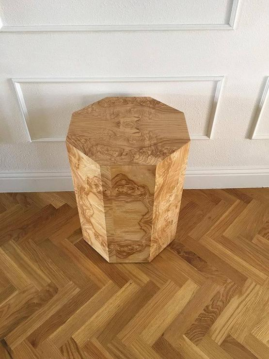 Jenn Hexagonal Burlwood Veneer Side Table