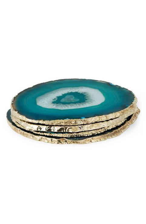 framed agate slices.htm aerin round blue agate gold coasters set  aerin round blue agate gold coasters set