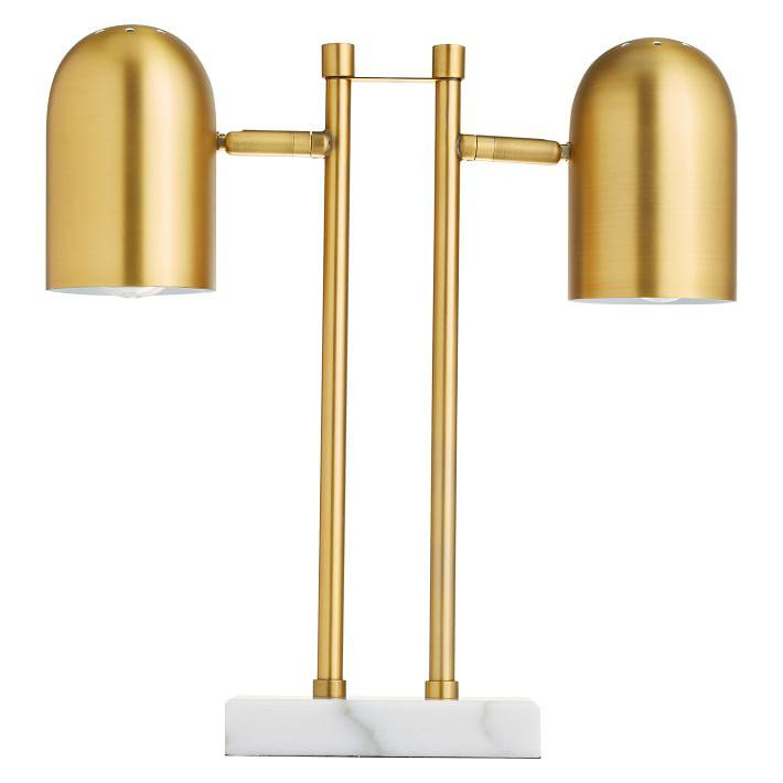 Brass Double Dome Marble Base Table Lamp