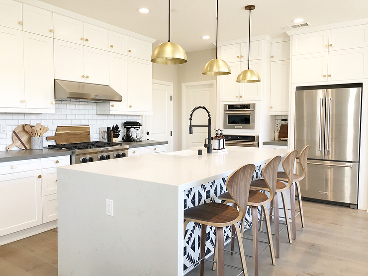 Black And White Cement Tiles On Kitchen Island Transitional