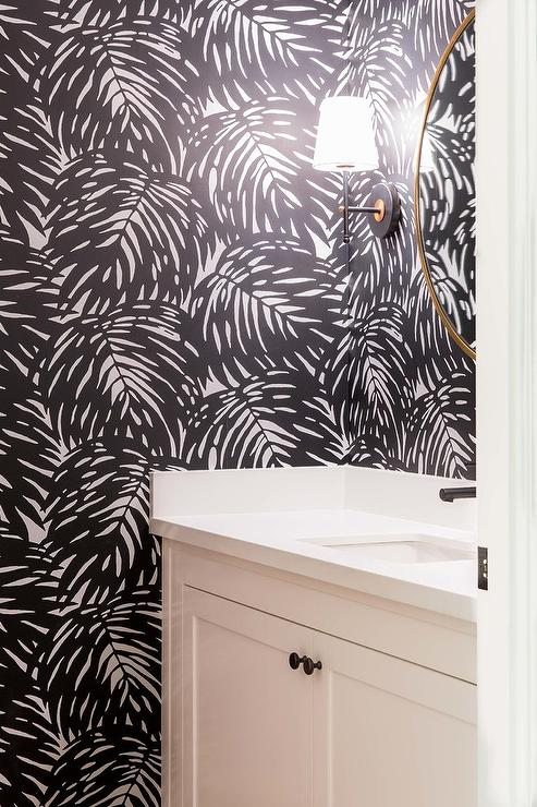 Powder Room With Black And White Palm Leaf Print Wallpaper