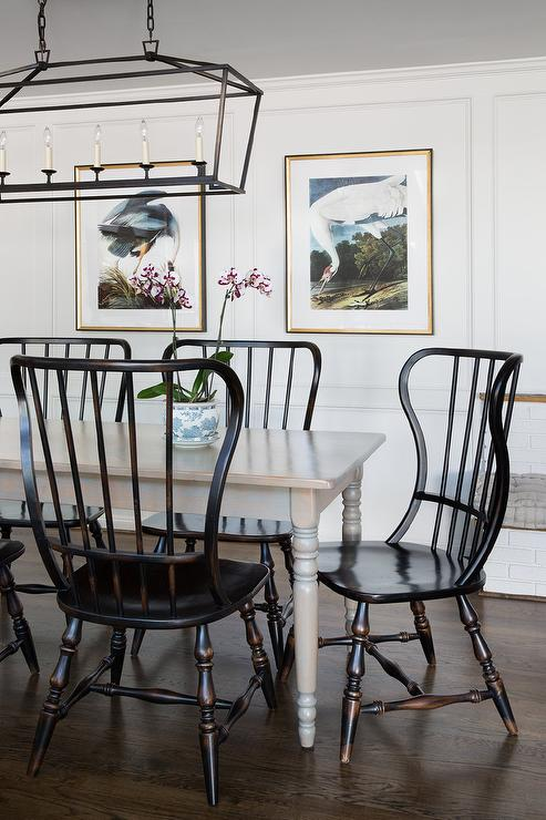 Gray Farmhouse Dining Table With Black Wood Vintage Chairs Transitional Dining Room
