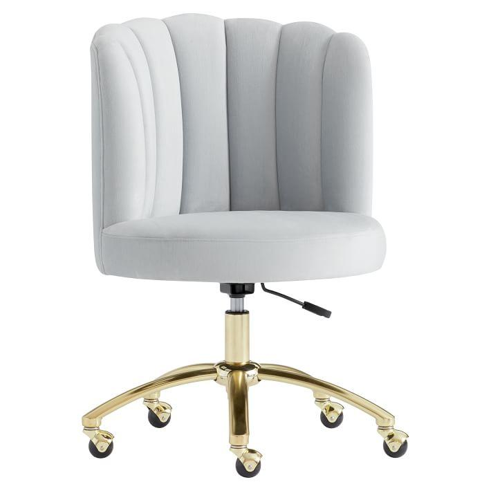 Holly White Channel Tufted Desk Chair