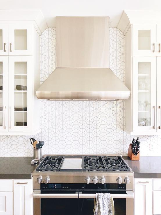 White Hexagon Kitchen Backsplash Tiles Design Ideas