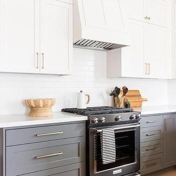 Light Gray Upper Cabinets Dark Gray Lower Cabinets Design Ideas