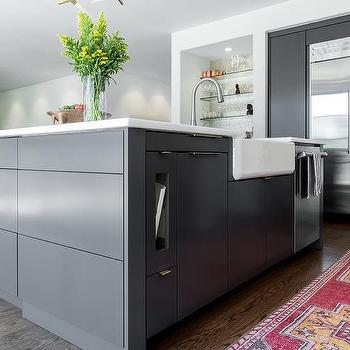 Dark Gray Kitchen Island With Farmhouse Sink