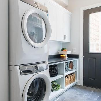 White Laundry Room With Black Floors Design Ideas