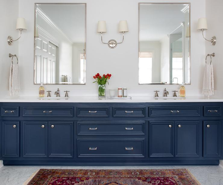 Navy Blue Bath Vanity With Submarine Medicine Cabinet