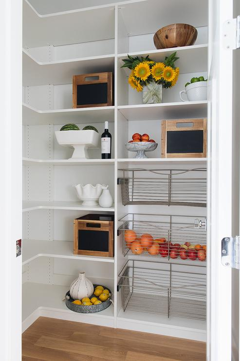 Small Kitchen Pantry With Pull Out Metal Vegetable Bins Transitional Kitchen