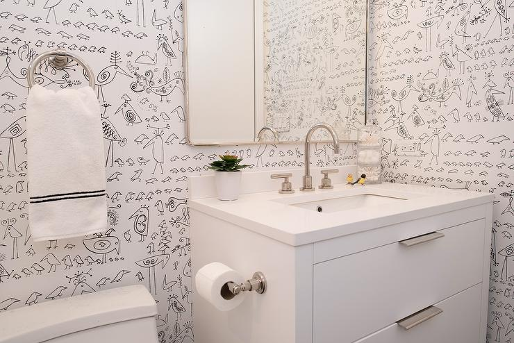. Saul Steinberg Aviary Wallpaper in Kids Bathroom   Contemporary