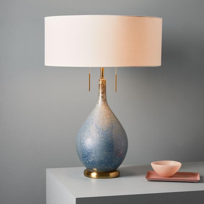 Droplet Blue Gray Textured Brass Table Lamp