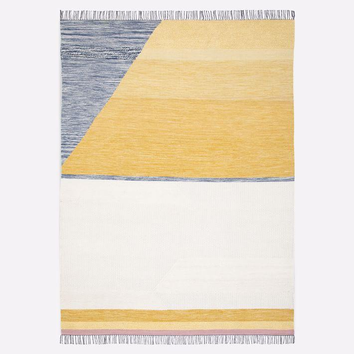 Campbell Gray Yellow Flatweave Fringed Rug