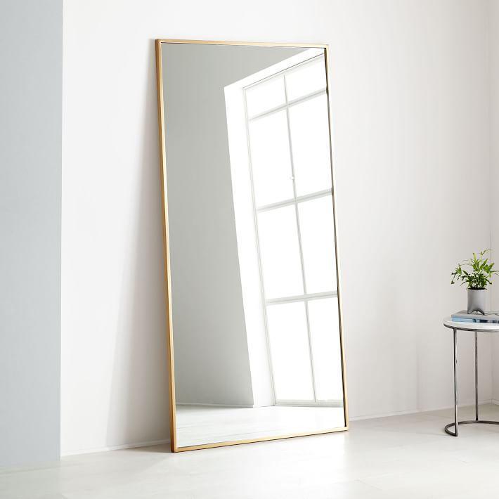 Luminous metal floor mirror