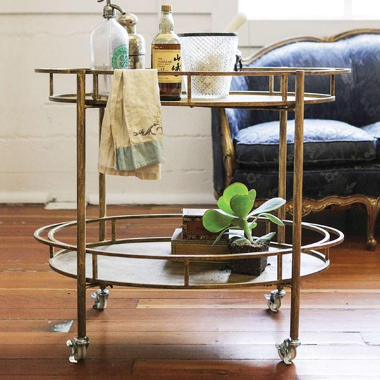 Warehouse Brown And Black Trolley Bar Cart