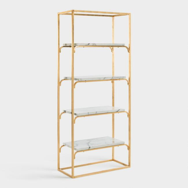 Thick Acrylic Brass Brackets Shelf