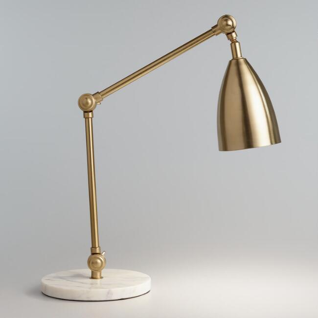 Geneva Glass Globe Marble Base Task Lamp