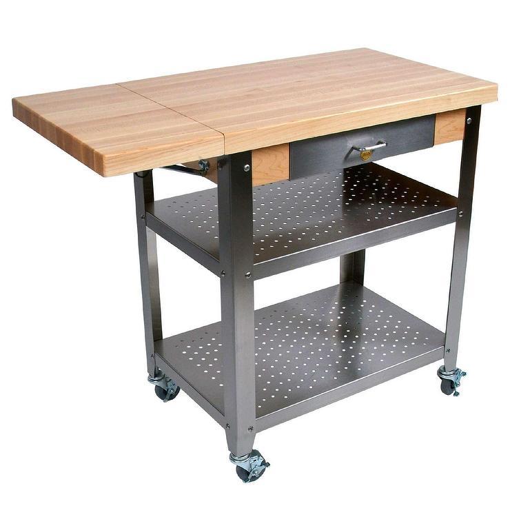 Cucina Maple Expanding Top Steel Kitchen Cart