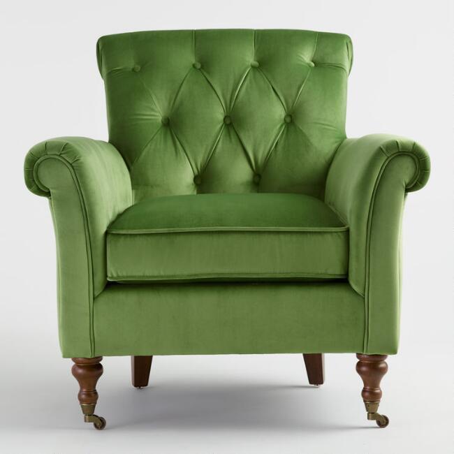 Green Velvet Lyre Chesterfield Armchair