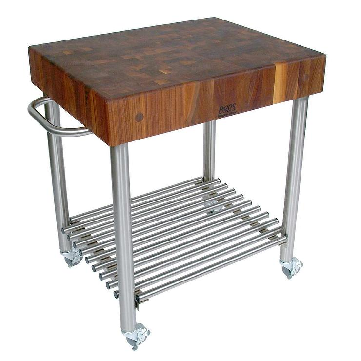Cucina DAmico Stainless Steel Walnut Butcher Block Kitchen Cart - Metal butcher table