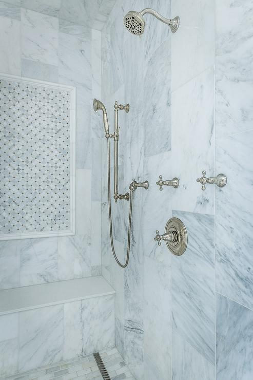 Marble Basketweave Shower Accent Tiles With Marble Border