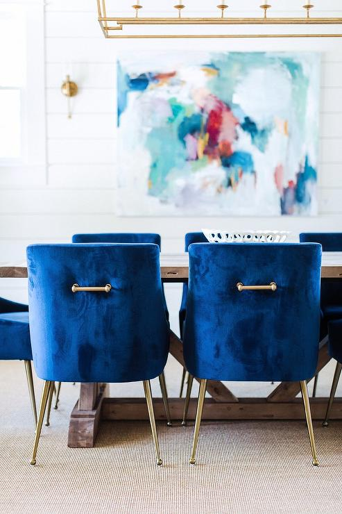 Amazing Blue Dining Chairs On Gold Legs Contemporary Dining Room Dailytribune Chair Design For Home Dailytribuneorg