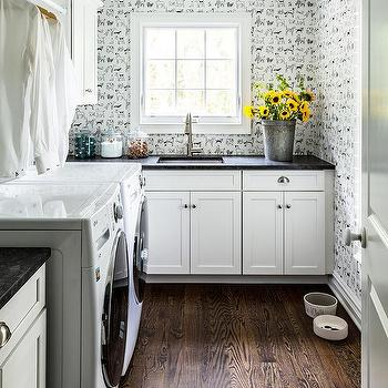 Black And White Checkered Laundry Room Floor Tiles