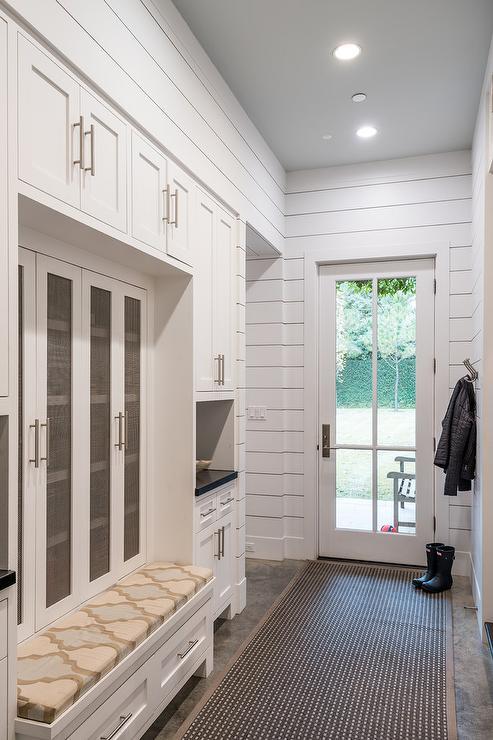 Mesh Doors On Mudroom Lockers Transitional Laundry Room