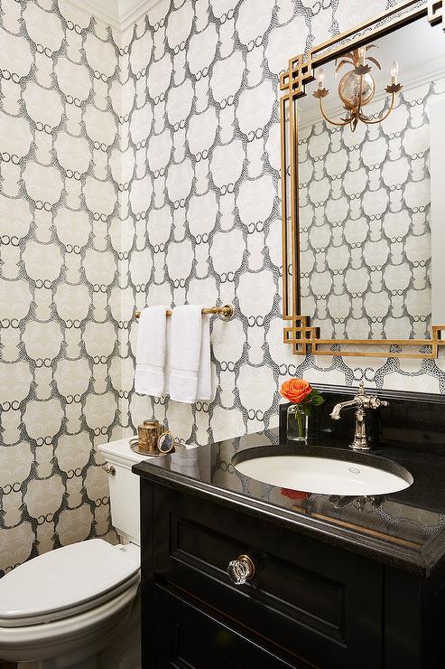 Gold Leaf Greek Key Mirror With Black Sink Vanity
